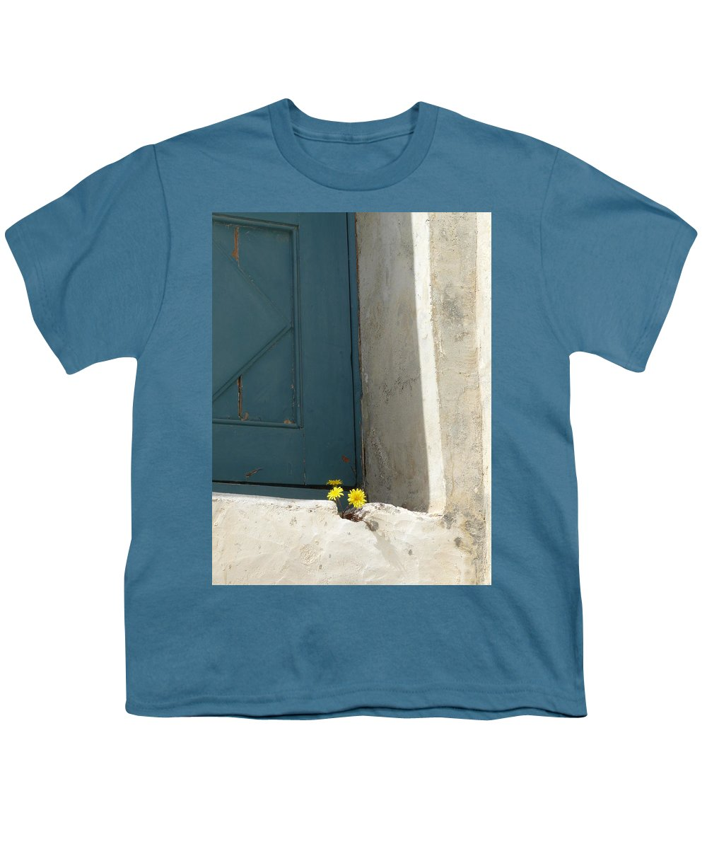 Old Youth T-Shirt featuring the photograph Old Greek Door by Valerie Ornstein