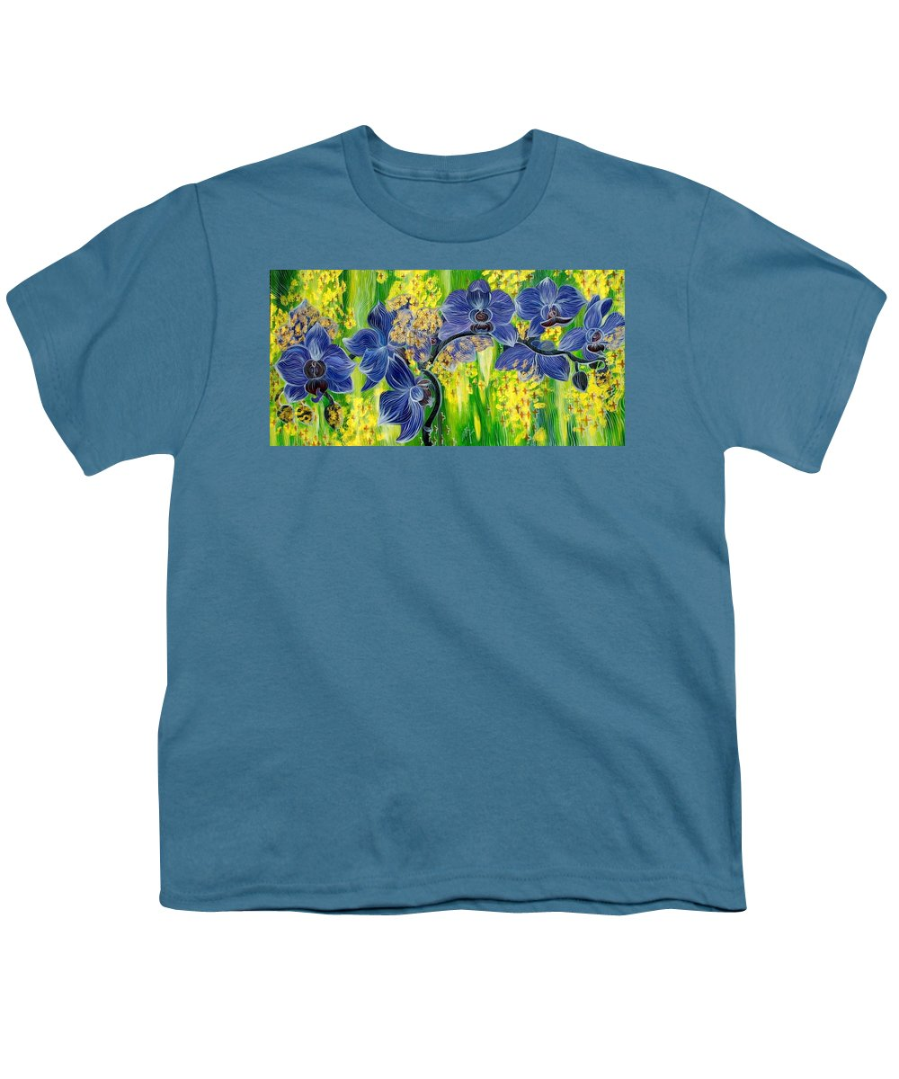 Inga Vereshchagina Youth T-Shirt featuring the painting Orchids In A Gold Rain by Inga Vereshchagina