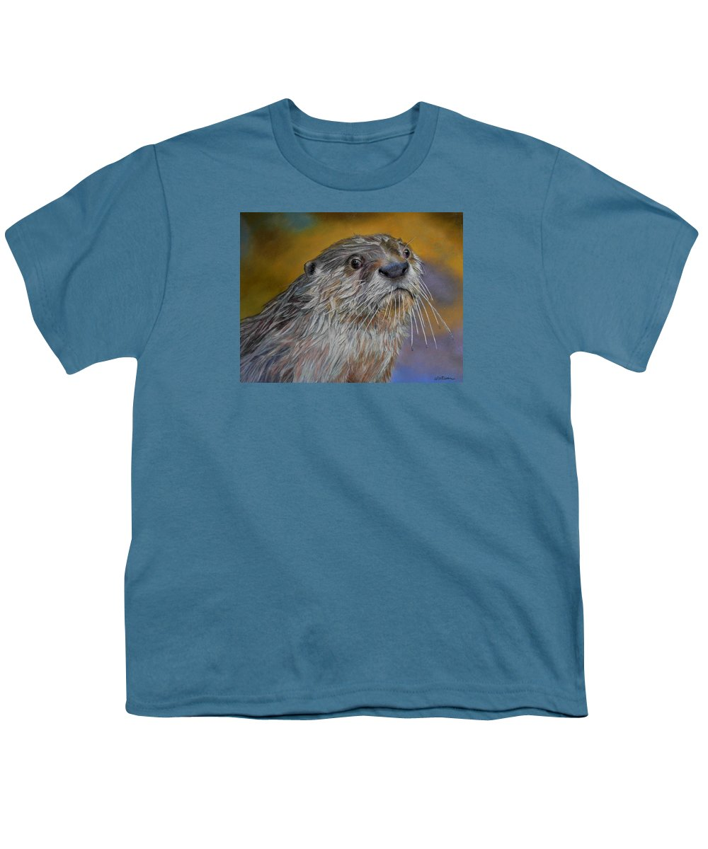 River Otter Youth T-Shirt featuring the painting Otter Or Not by Ceci Watson