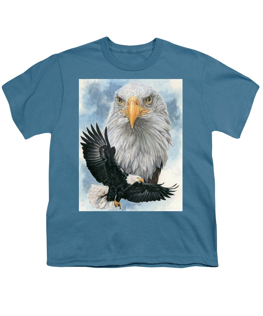Bald Eagle Youth T-Shirt featuring the mixed media Peerless by Barbara Keith