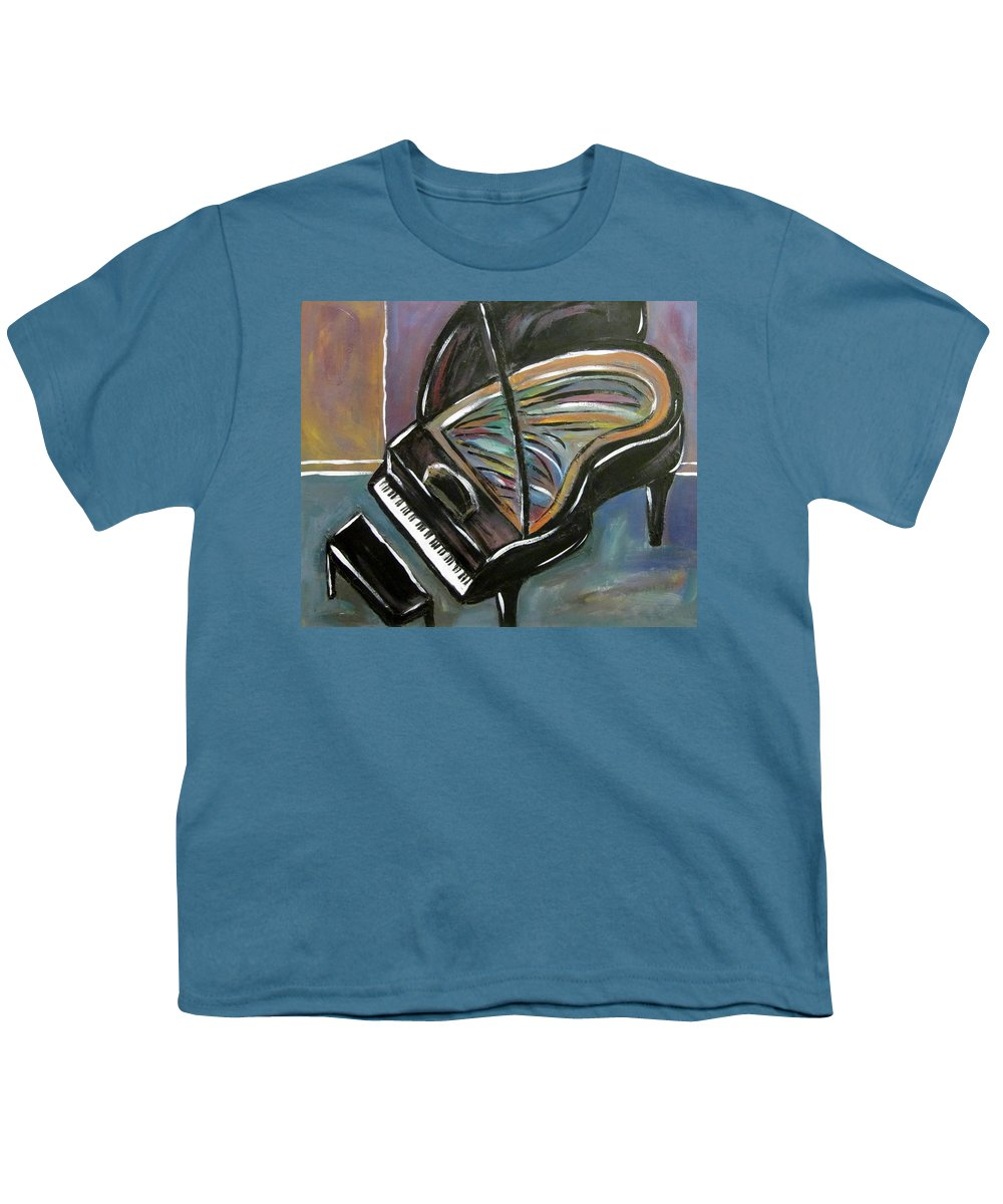 Impressionist Youth T-Shirt featuring the painting Piano With High Heel by Anita Burgermeister