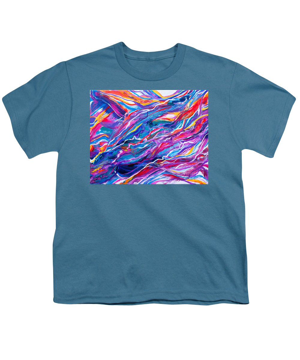 Filaments Lines Strokes Rushing Water Full Of Vibrant Color And Dynamic Movement Energy Contemporary Original Abstract Youth T-Shirt featuring the painting Playful stream by Priscilla Batzell Expressionist Art Studio Gallery