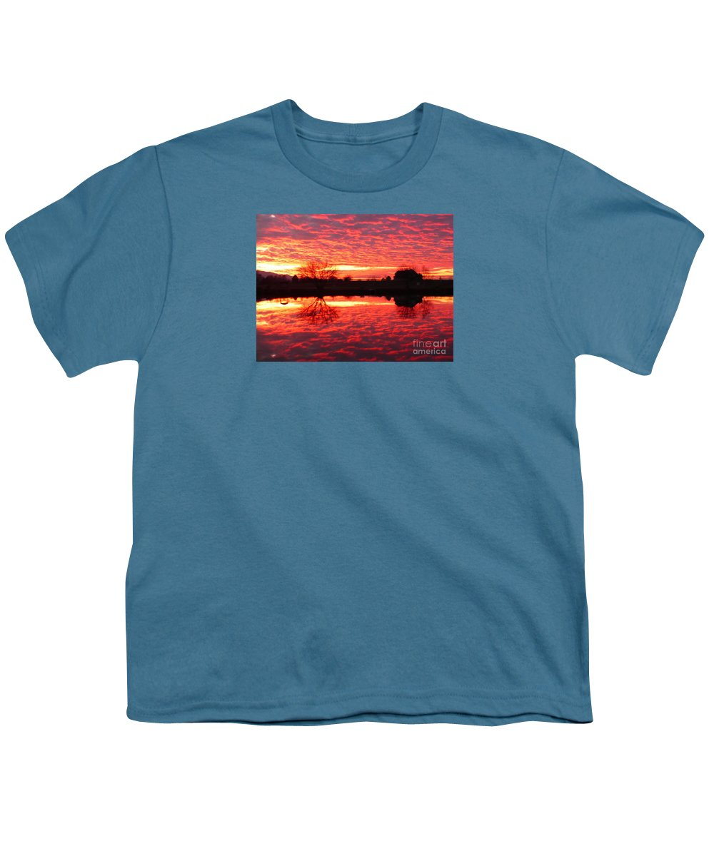 Orange Youth T-Shirt featuring the photograph Dramatic Orange Sunset by Carol Groenen