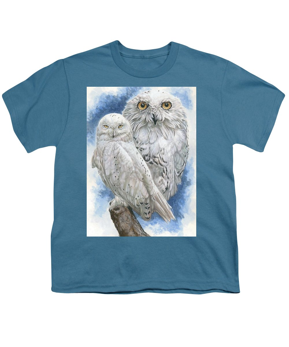 Snowy Owl Youth T-Shirt featuring the mixed media Radiant by Barbara Keith