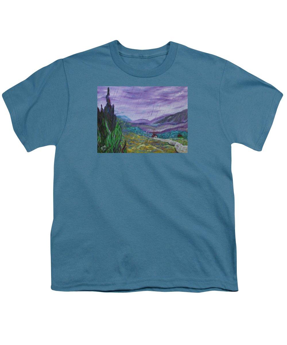 Rain Youth T-Shirt featuring the painting Rain by David McGhee