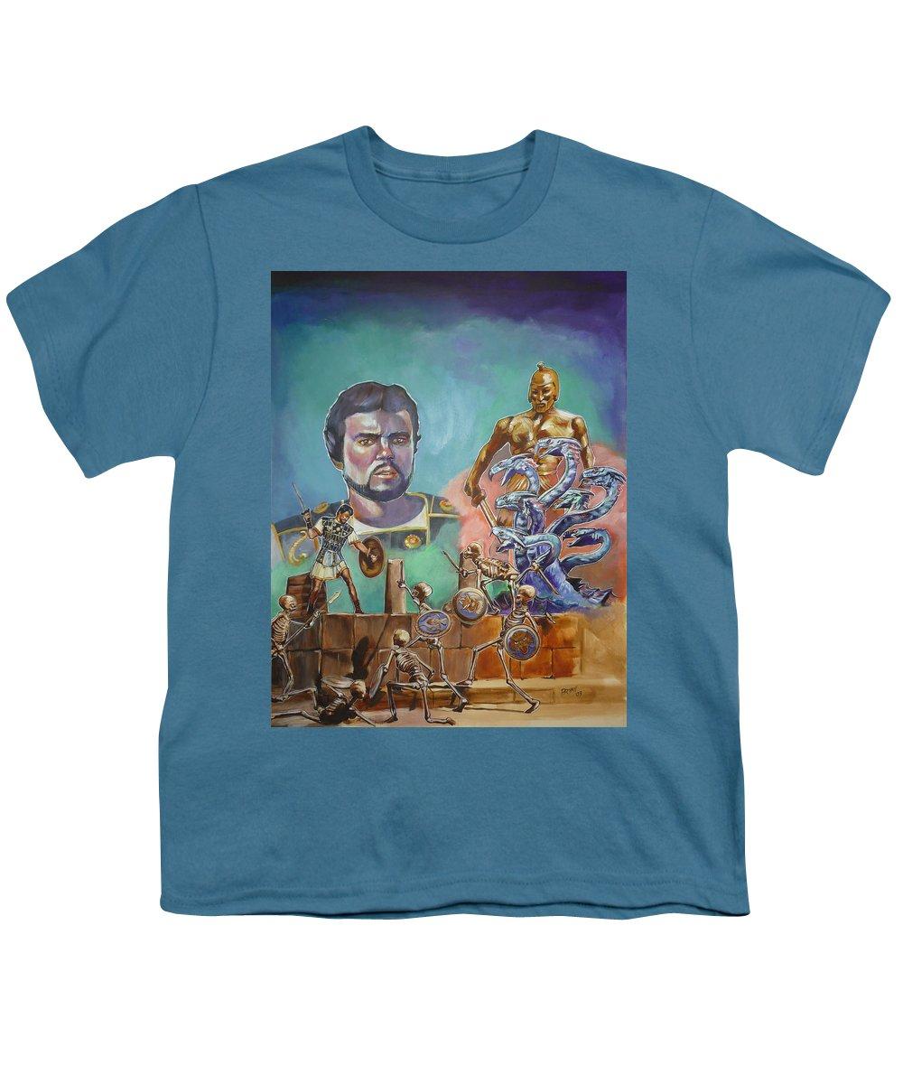 Jason Argonauts Hydra Talos Skeletons Movie Harryhausen Fantasy Sci-fi Youth T-Shirt featuring the painting Ray Harryhausen Tribute Jason And The Argonauts by Bryan Bustard