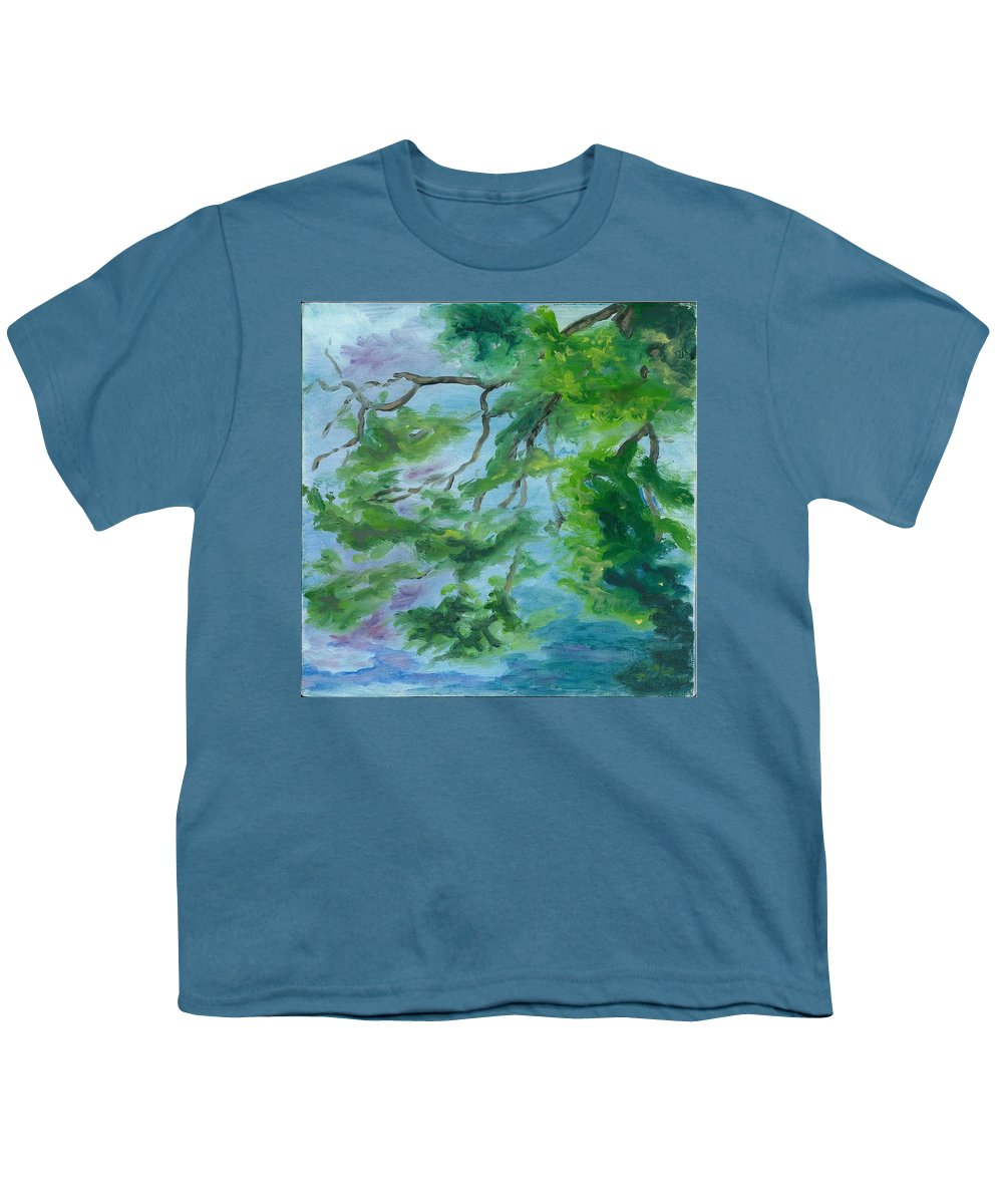 Reflections Youth T-Shirt featuring the painting Reflections On The Mill Pond by Paula Emery