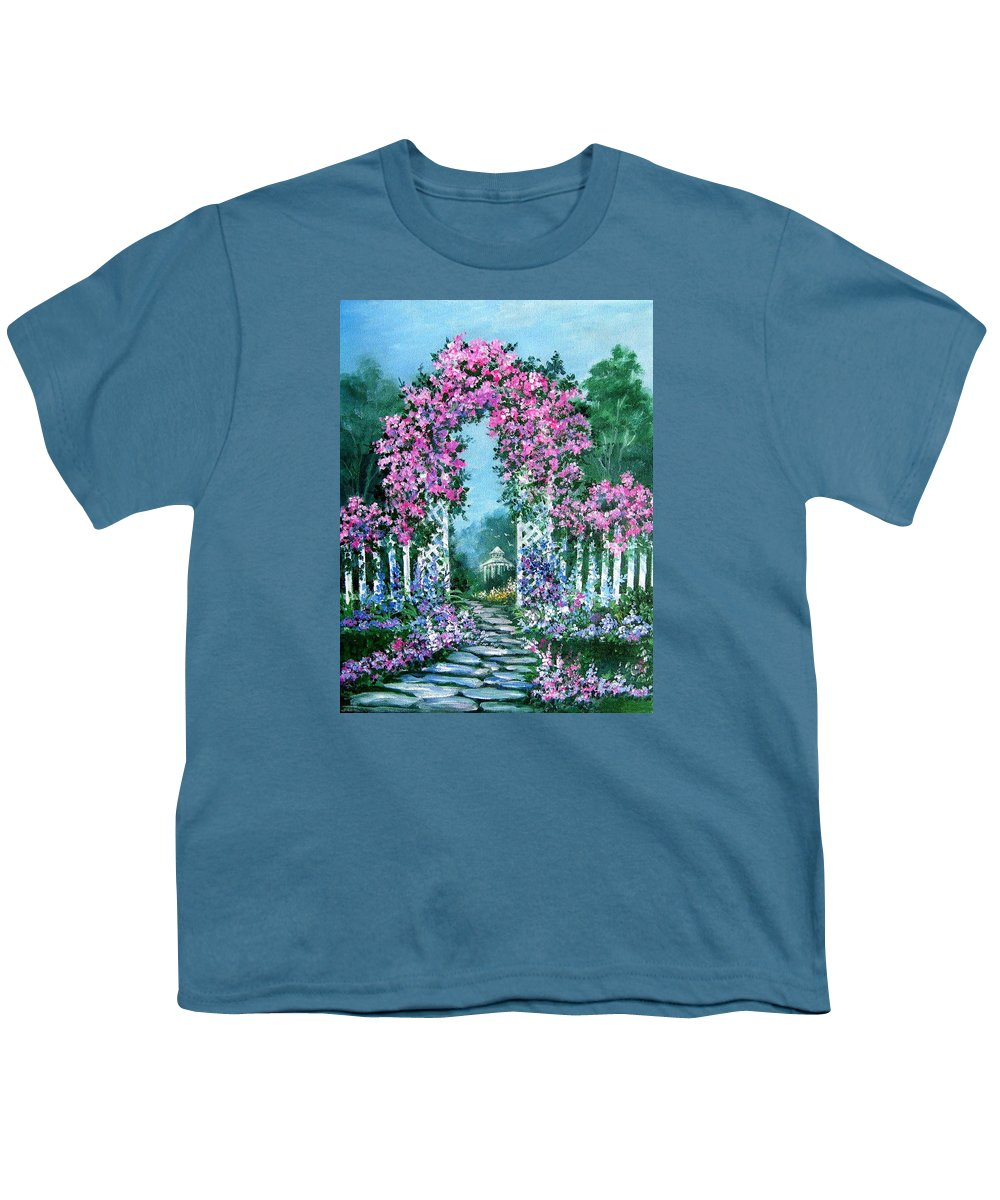 Roses;floral;garden;picket Fence;arch;trellis;garden Walk;flower Garden; Youth T-Shirt featuring the painting Rose-covered Trellis by Lois Mountz