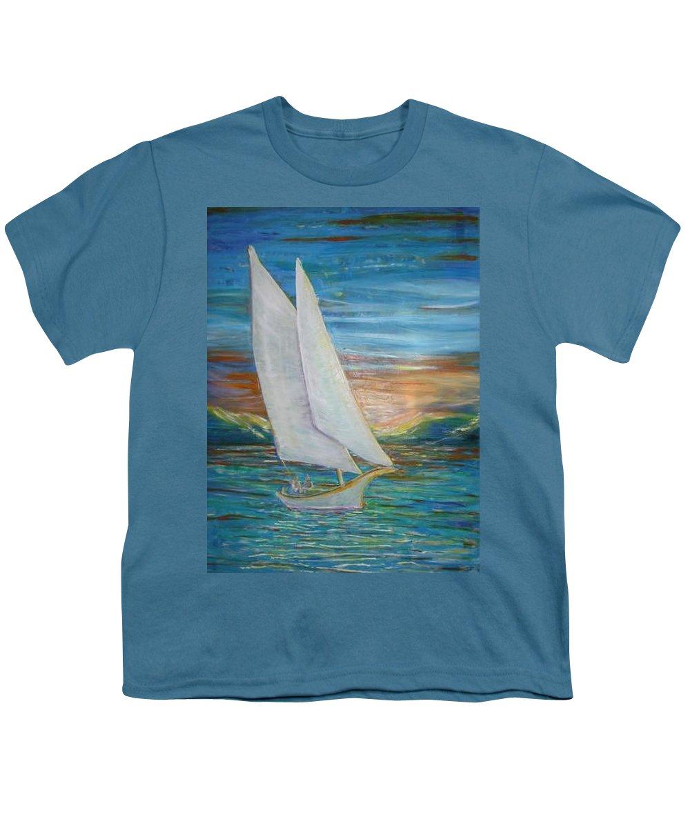 Sailboat Youth T-Shirt featuring the painting Saturday Sail by Regina Walsh