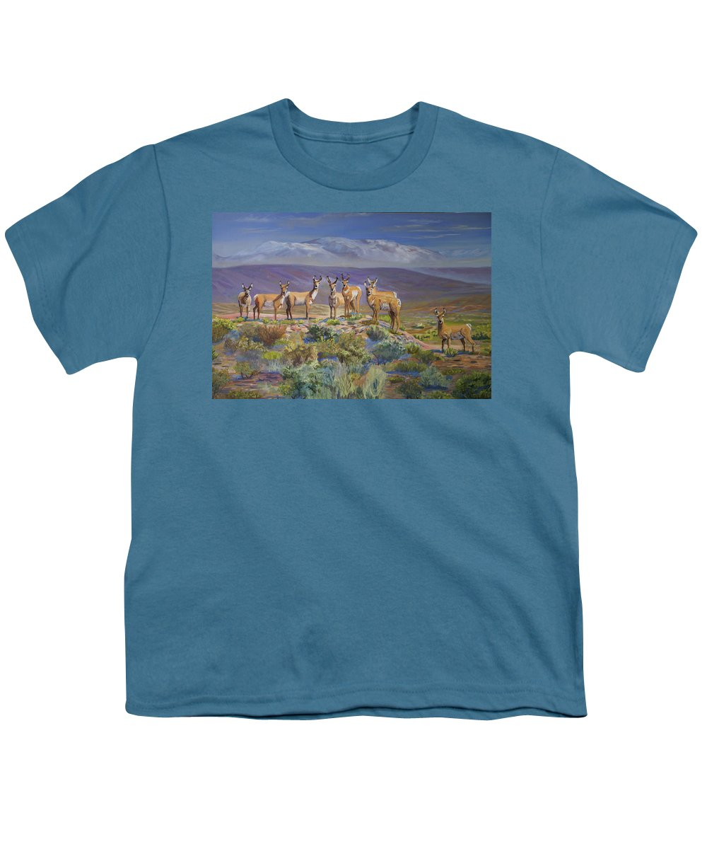 Antelope Youth T-Shirt featuring the painting Say Cheese Antelope by Heather Coen