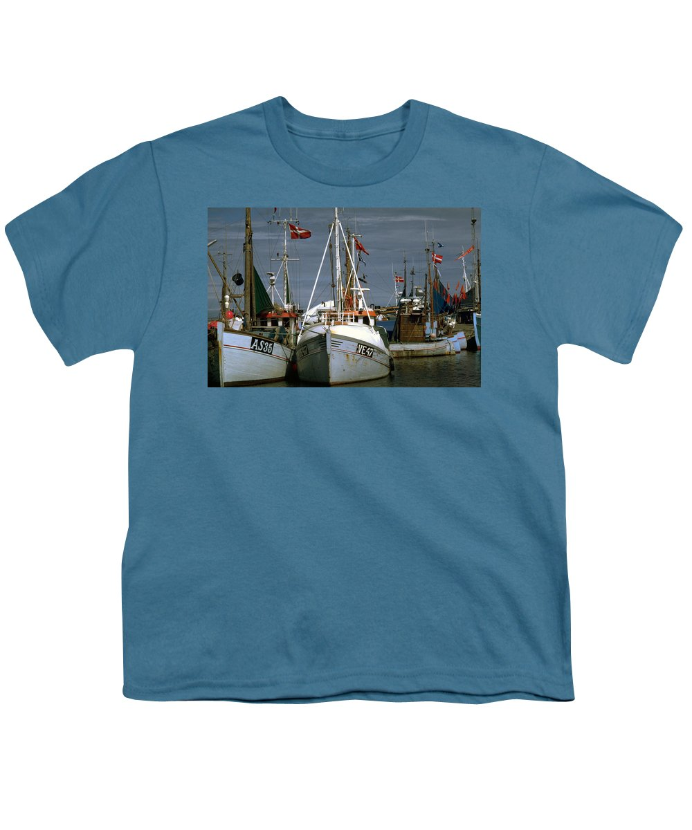Scandinavian Youth T-Shirt featuring the photograph Scandinavian Fisher Boats by Flavia Westerwelle