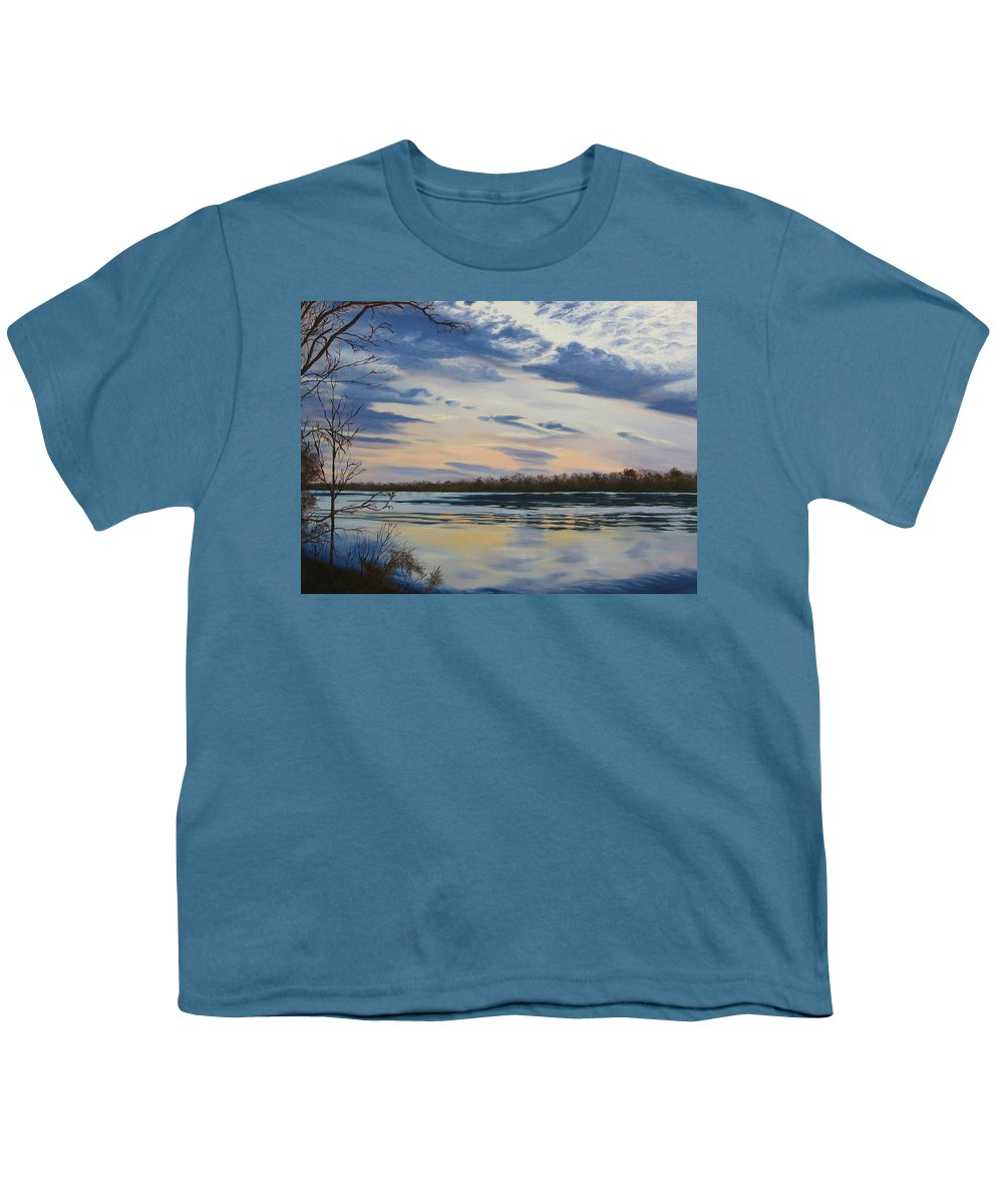 Clouds Youth T-Shirt featuring the painting Scenic Overlook - Delaware River by Lea Novak