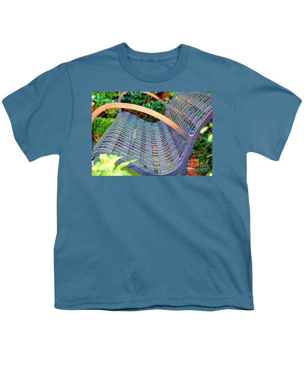 Bench Youth T-Shirt featuring the photograph Sitting On A Park Bench by Debbi Granruth