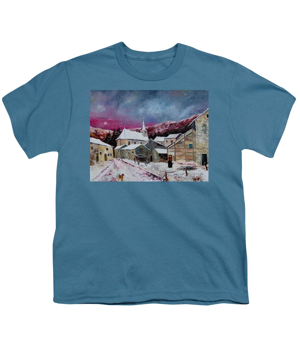Snow Youth T-Shirt featuring the painting Snow Is Falling by Pol Ledent