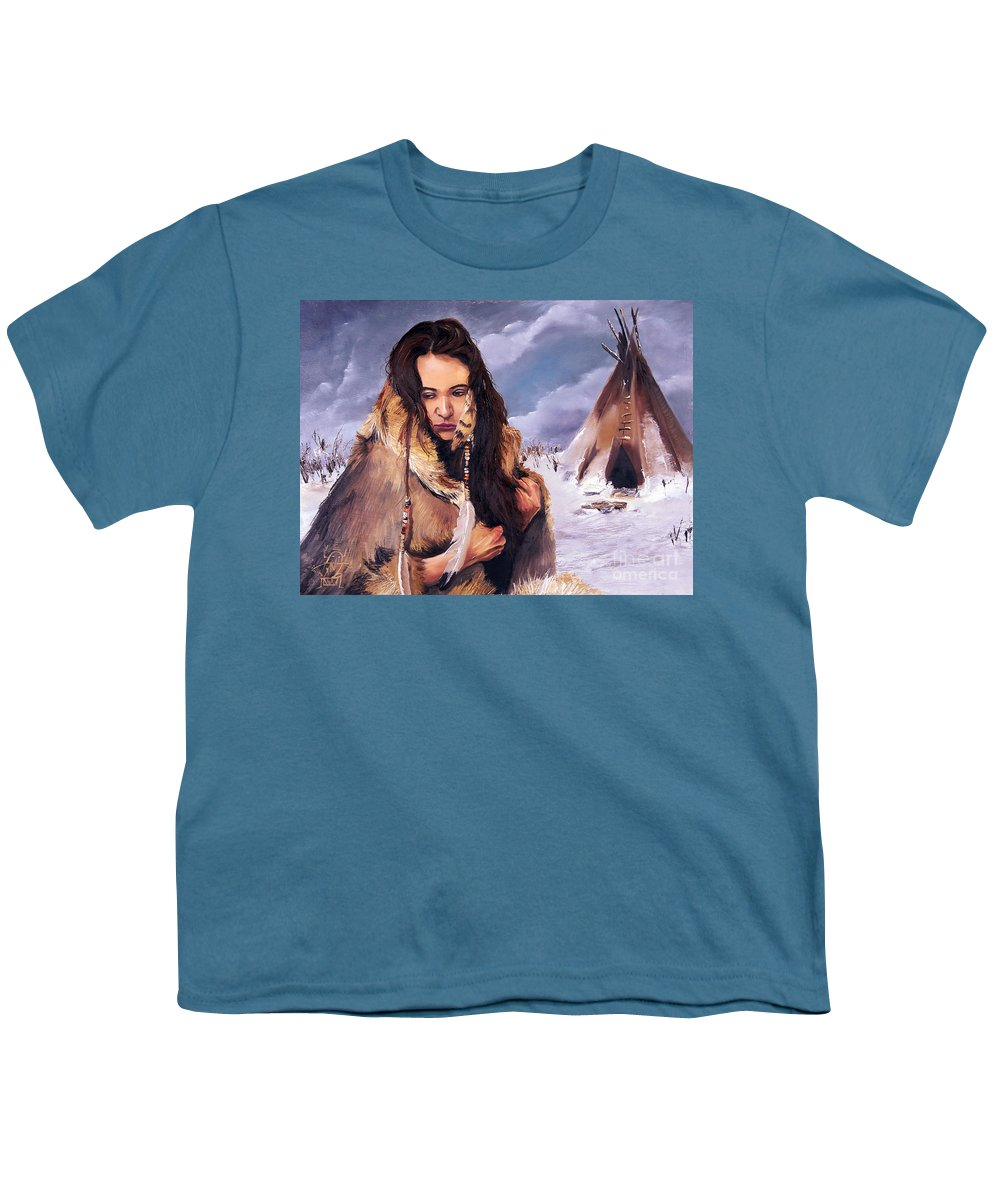 Southwest Art Youth T-Shirt featuring the painting Solitude by J W Baker