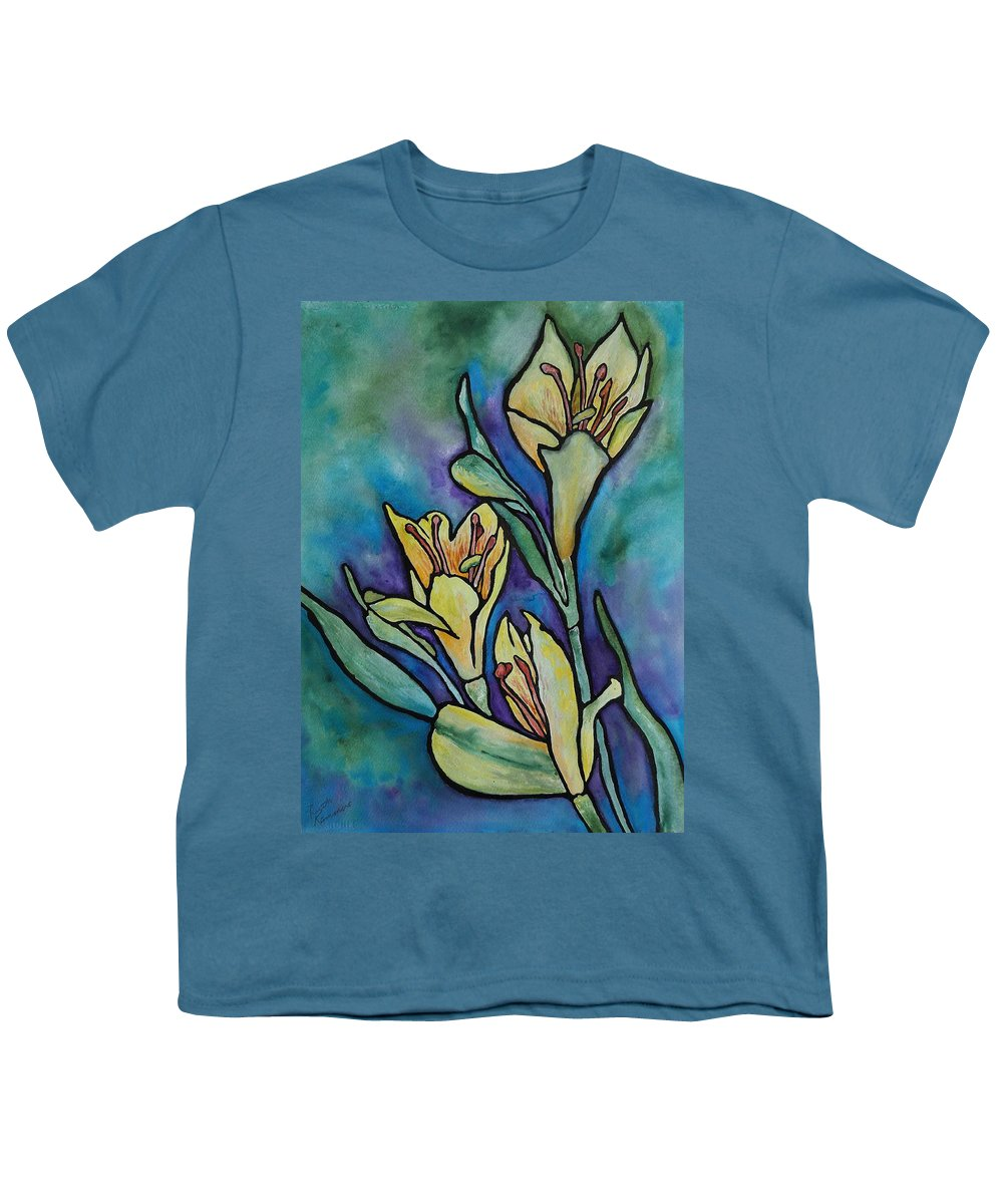 Flowers Youth T-Shirt featuring the painting Stained Glass Flowers by Ruth Kamenev