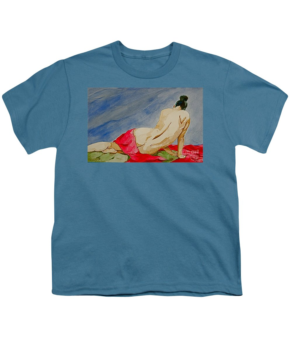 Nudes Red Cloth Youth T-Shirt featuring the painting Summer Morning 2 by Herschel Fall