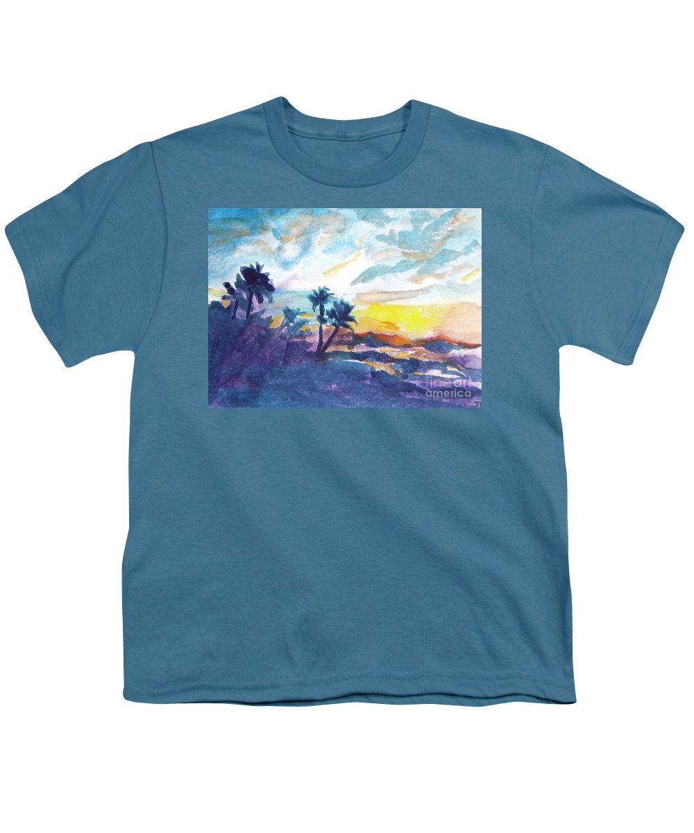 Landscape Youth T-Shirt featuring the painting Sunset In Hawaii by Jan Bennicoff