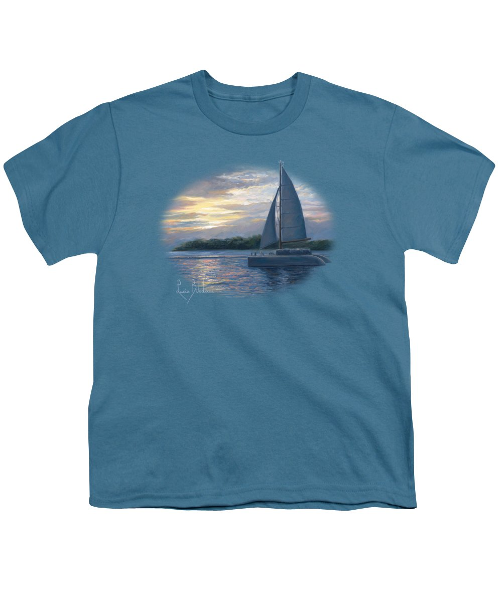 Sailboat Youth T-Shirt featuring the painting Sunset In Key West by Lucie Bilodeau