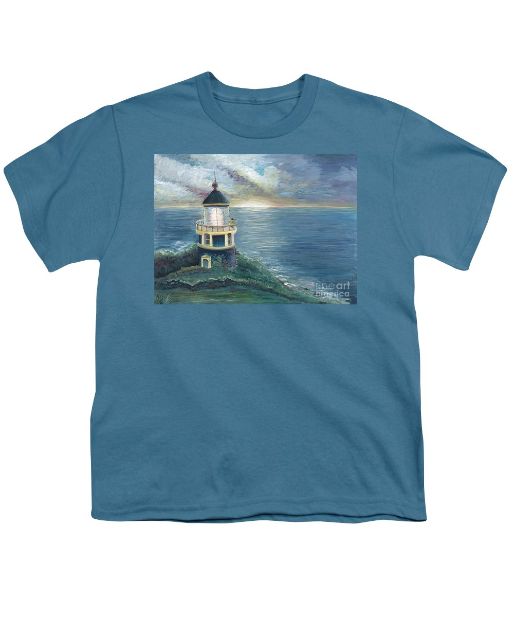 Lighthouse Youth T-Shirt featuring the painting The Lighthouse by Nadine Rippelmeyer