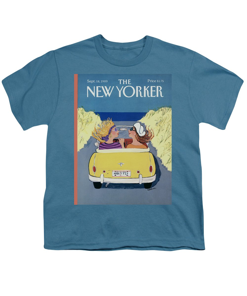 Autos Youth T-Shirt featuring the photograph The New Yorker Cover - September 18th, 1989 by Barbara Westman