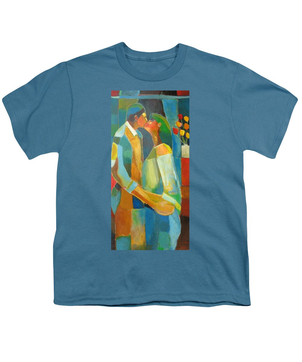 Love Abstract Youth T-Shirt featuring the painting The Sweet Kiss by Habib Ayat