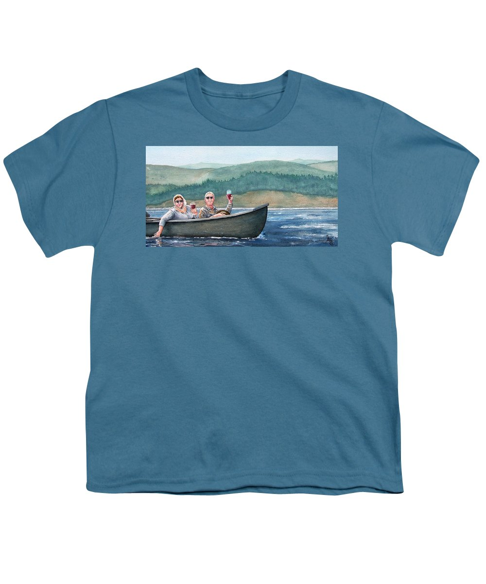 Canoe Youth T-Shirt featuring the painting To Life by Gale Cochran-Smith