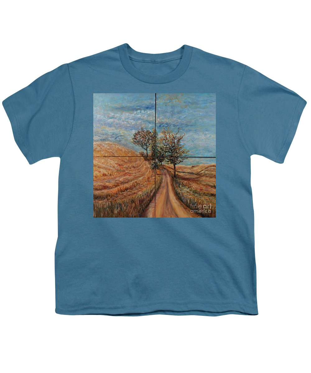 Landscape Youth T-Shirt featuring the painting Tuscan Journey by Nadine Rippelmeyer