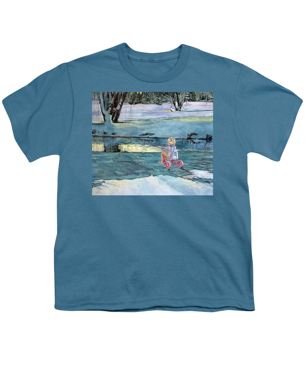 Children Youth T-Shirt featuring the painting Twilight by Valerie Patterson