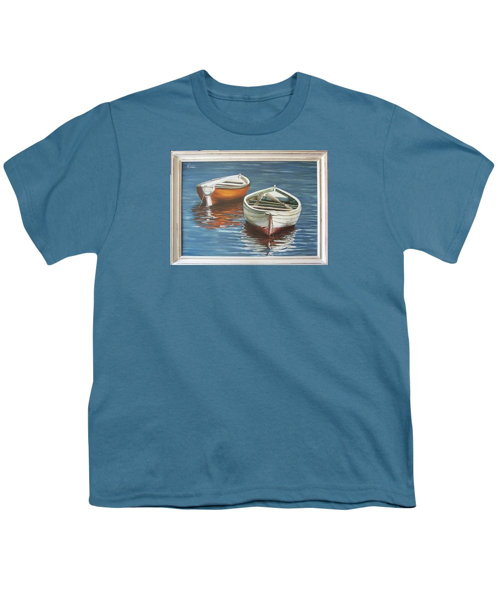 Boats Reflection Seascape Water Boat Sea Ocean Youth T-Shirt featuring the painting Two Boats by Natalia Tejera