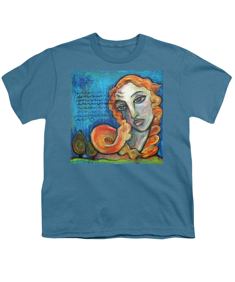 Venus Youth T-Shirt featuring the painting Venus Lets Go by Laurie Maves ART