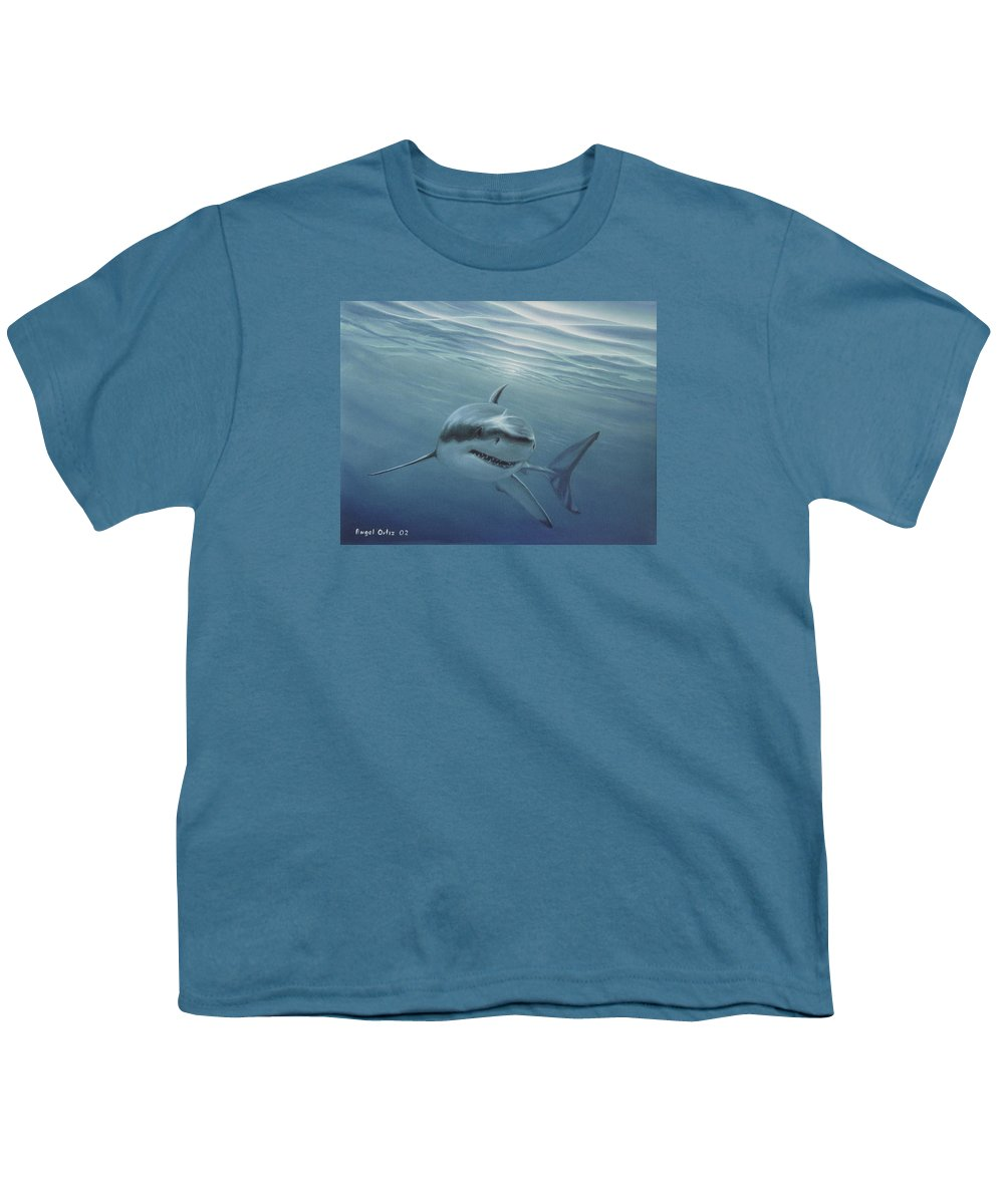 Shark Youth T-Shirt featuring the painting White Shark by Angel Ortiz