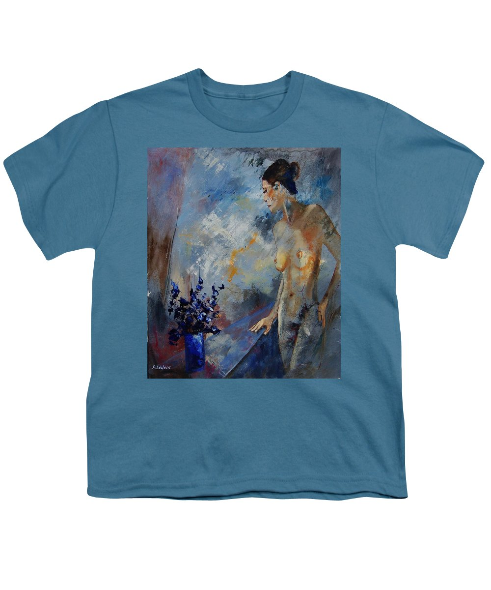 Girl Youth T-Shirt featuring the painting Will He Be Coming by Pol Ledent