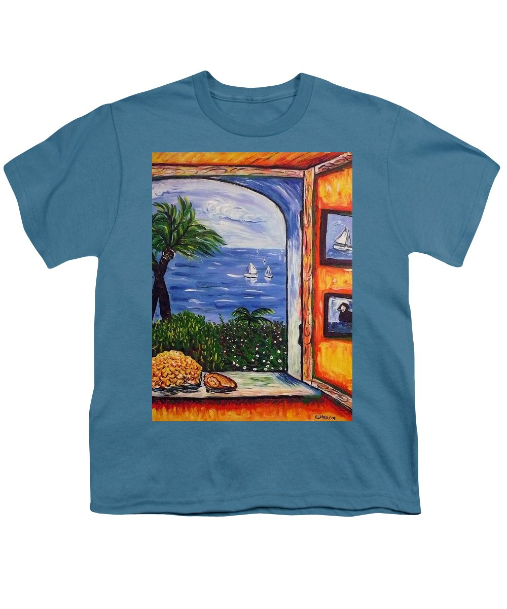 Landscape Youth T-Shirt featuring the painting Window With Coral by Ericka Herazo