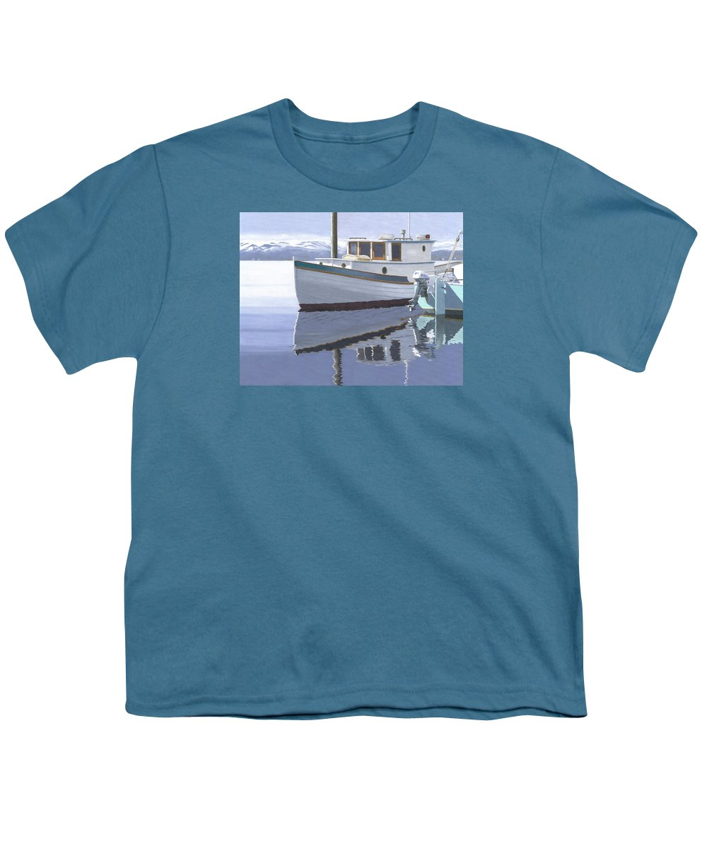 Marine Youth T-Shirt featuring the painting Winter Moorage by Gary Giacomelli