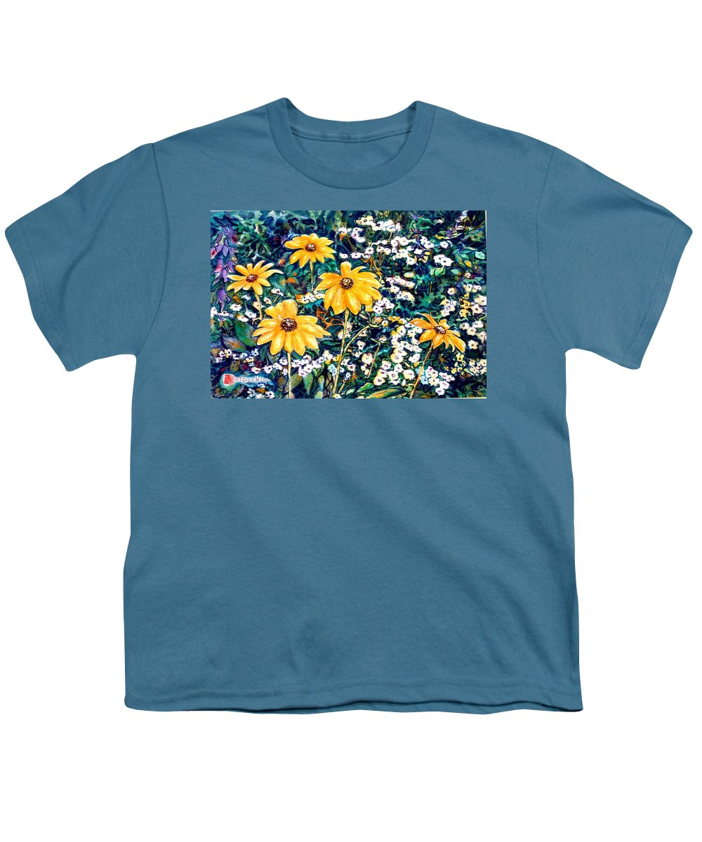 Daisies Youth T-Shirt featuring the painting Yellow Daisies by Norma Boeckler