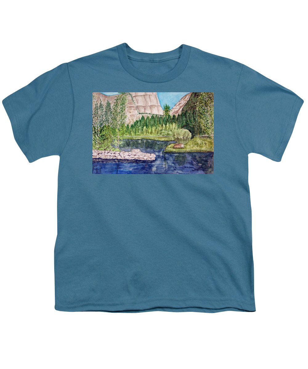Yosemite National Park Youth T-Shirt featuring the painting Yosemite by Larry Wright