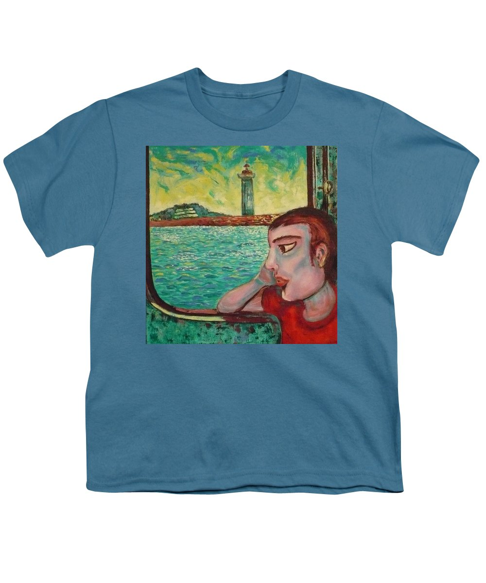 Window Youth T-Shirt featuring the painting Young Man In A Window by Ericka Herazo