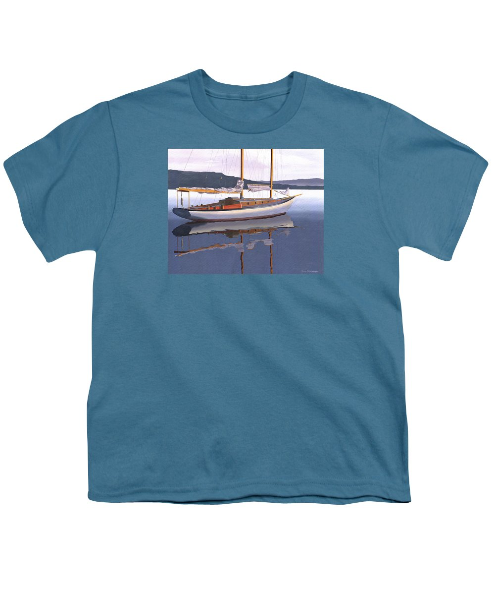 Schooner Youth T-Shirt featuring the painting Schooner at dusk by Gary Giacomelli