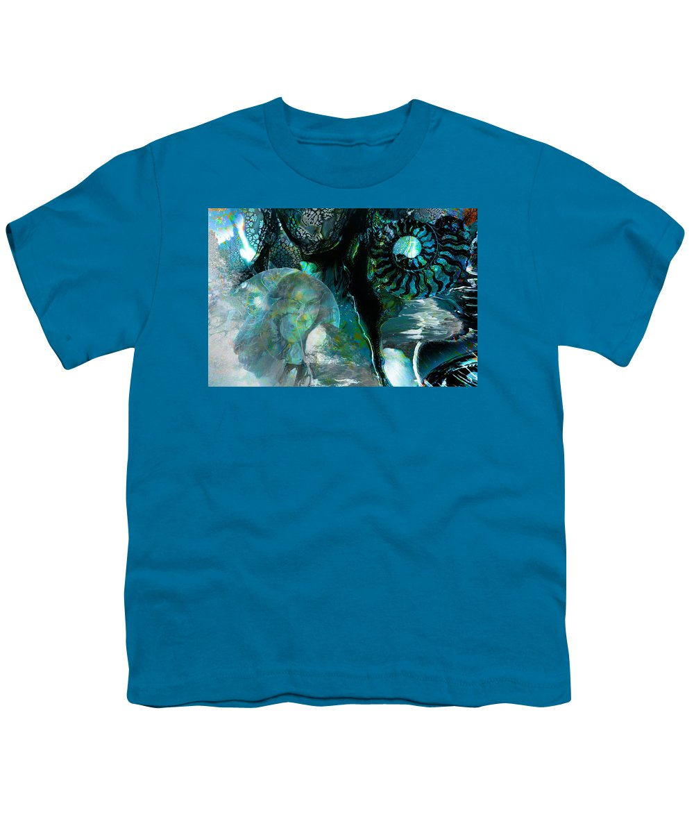 Ocean Youth T-Shirt featuring the digital art Ammonite Seascape by Lisa Yount