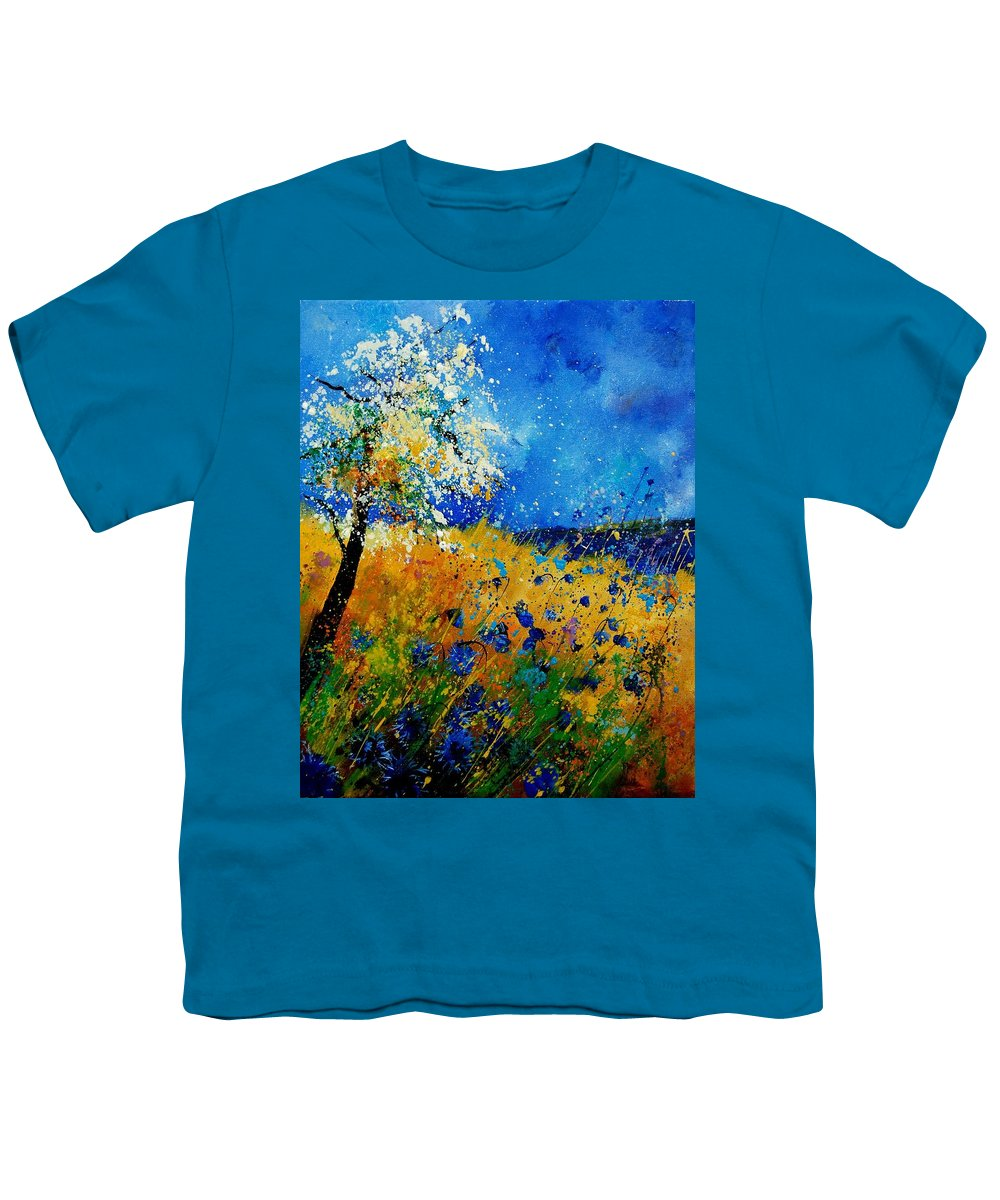 Poppies Youth T-Shirt featuring the painting Blue Cornflowers 450108 by Pol Ledent