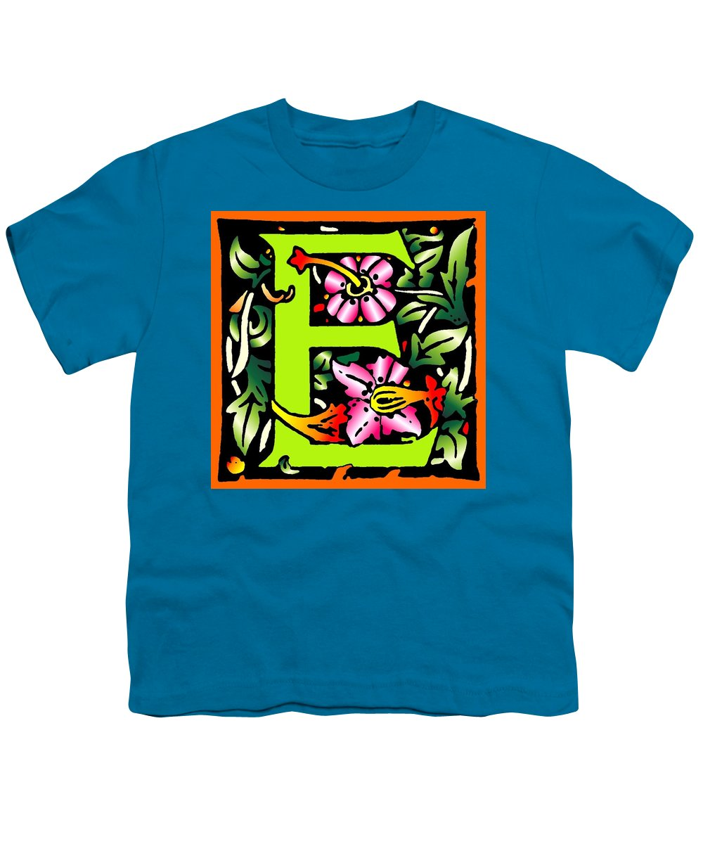 Alphabet Youth T-Shirt featuring the digital art E In Green by Kathleen Sepulveda