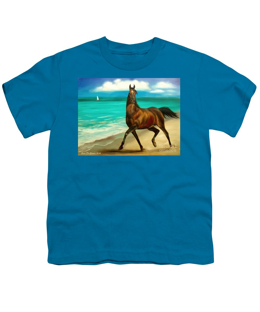 Horse Youth T-Shirt featuring the painting Horses In Paradise Dance by Gina De Gorna
