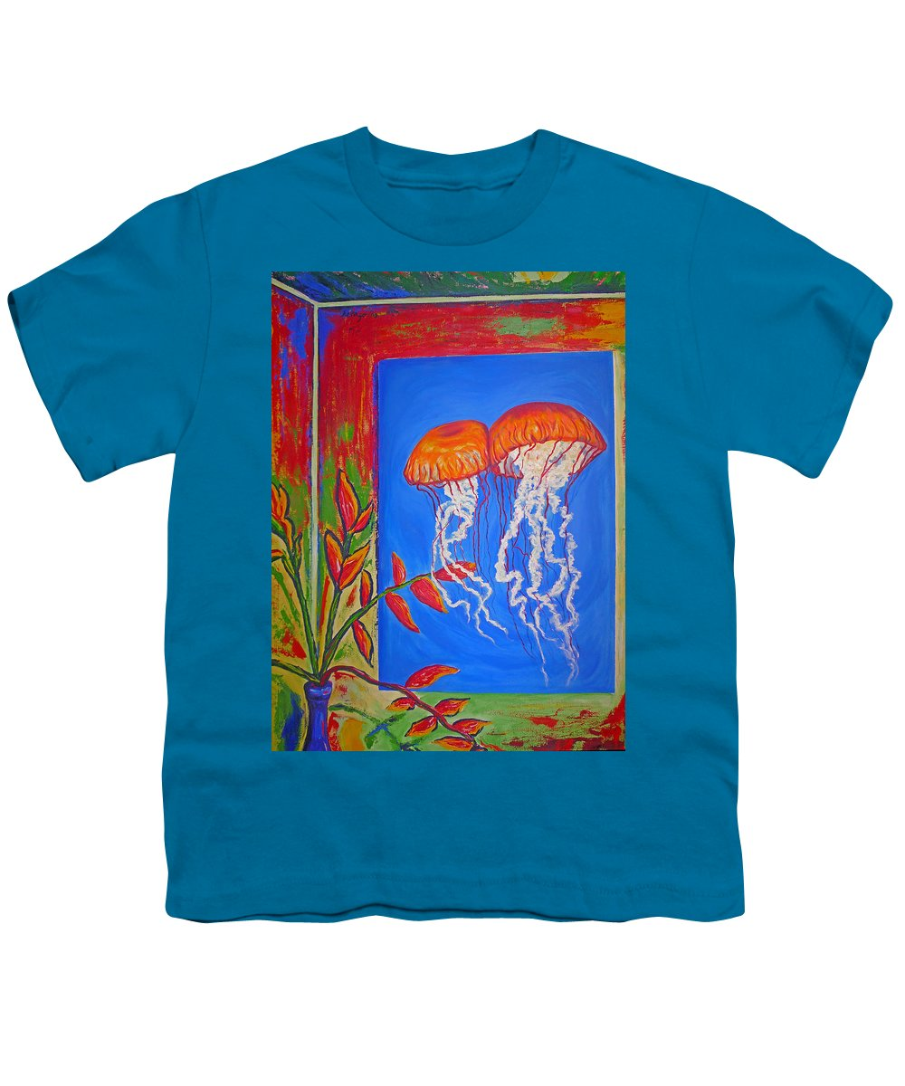 Jellyfish Youth T-Shirt featuring the painting Jellyfish With Flowers by Ericka Herazo