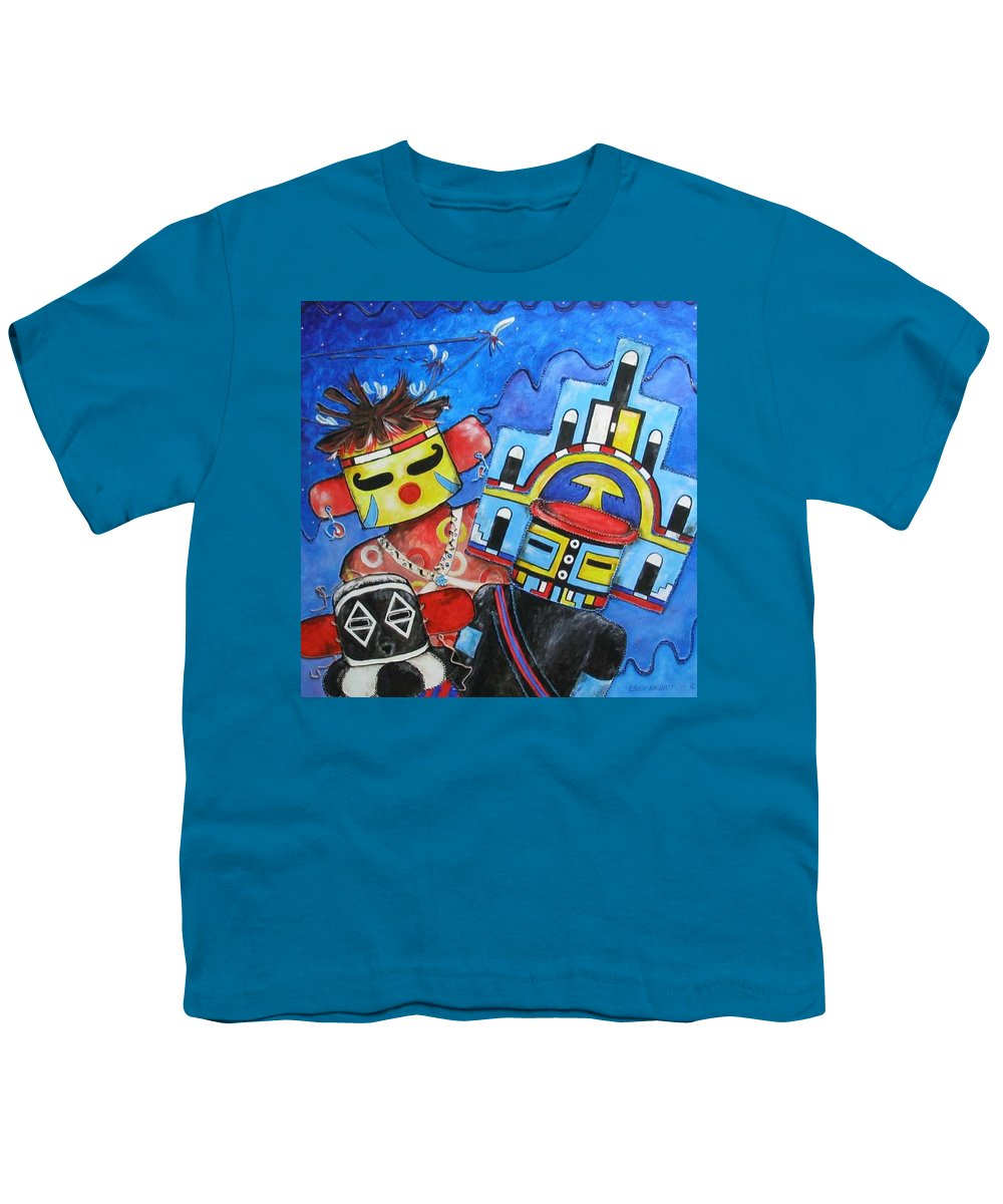 Native Youth T-Shirt featuring the painting Kachina Knights by Elaine Booth-Kallweit