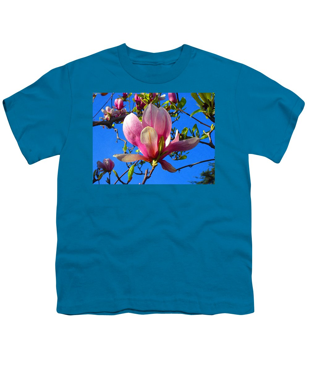 Magnolia Youth T-Shirt featuring the painting Magnolia Flower by Amy Vangsgard
