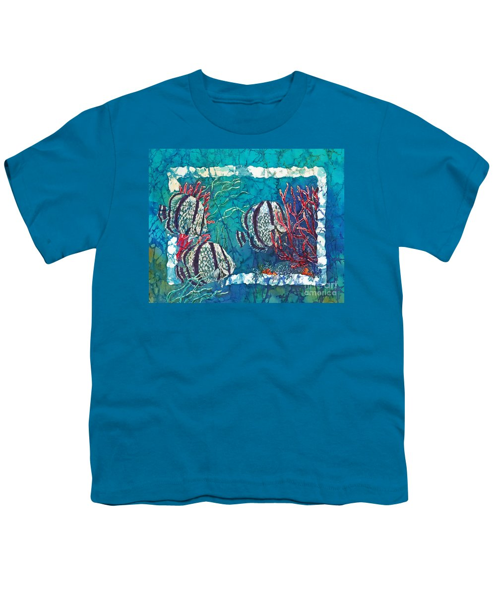 Fish Youth T-Shirt featuring the painting Playful Trio by Sue Duda