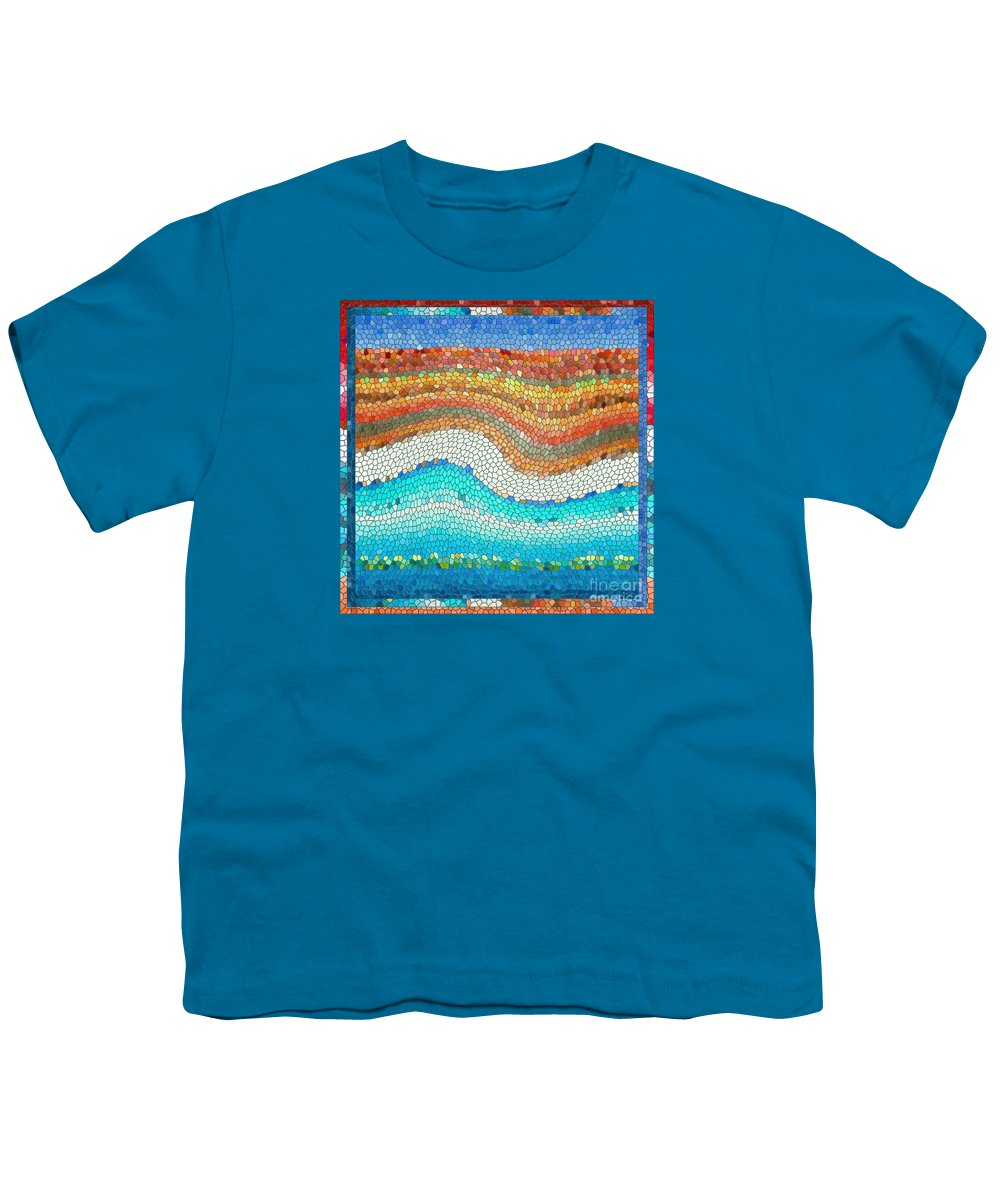 Colorful Youth T-Shirt featuring the digital art Summer Mosaic by Melissa A Benson