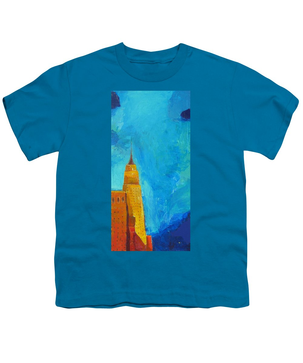 Abstract Cityscape Youth T-Shirt featuring the painting The Empire State by Habib Ayat