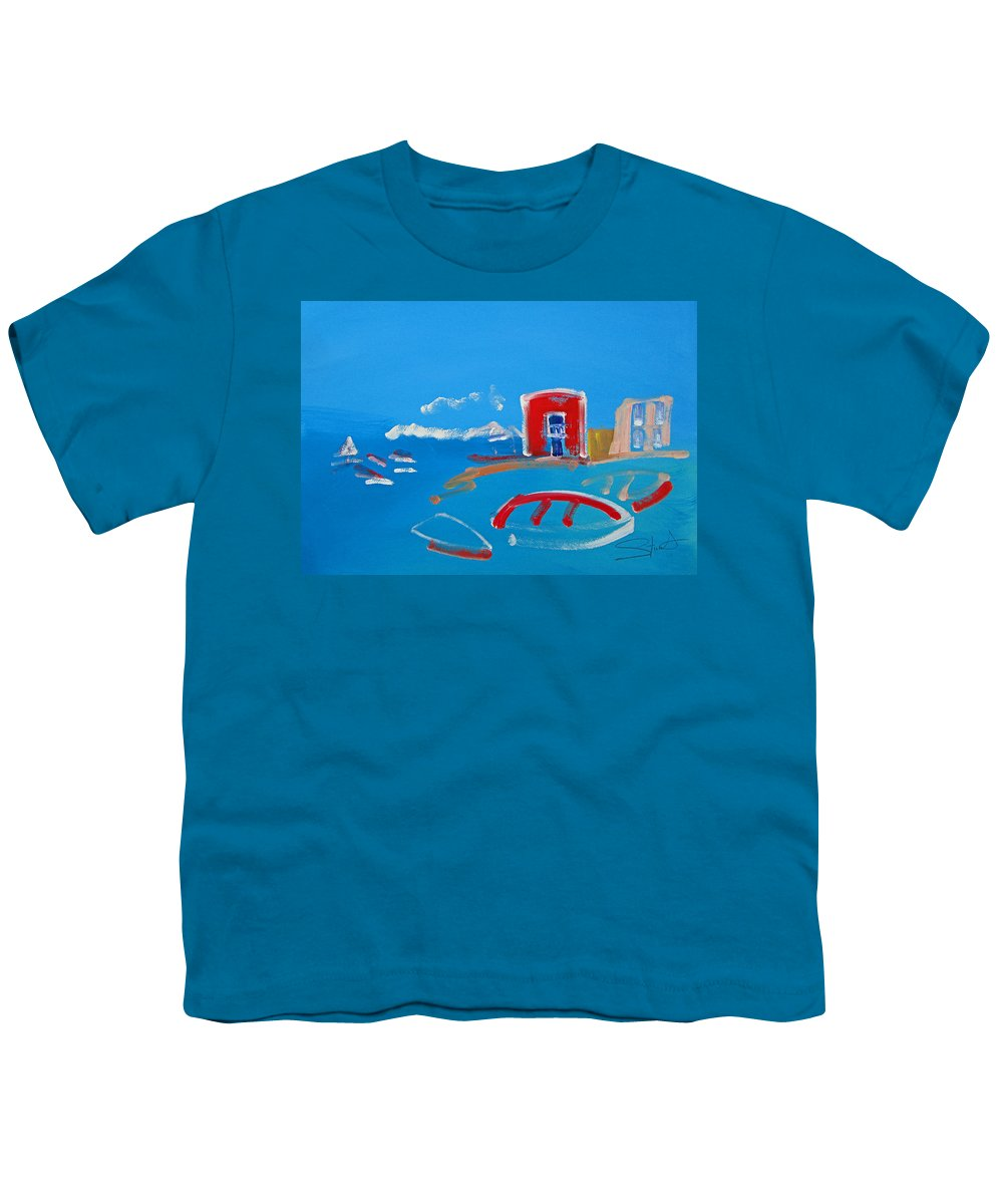 Puerto Youth T-Shirt featuring the painting The Red House La Casa Roja by Charles Stuart